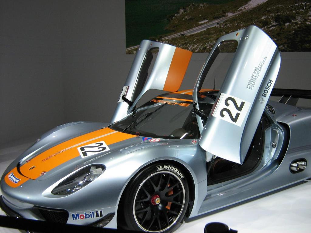 Grey and Orange Porsche 918 Spyder Wallpaper